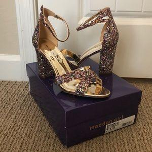 ✨ Madden Girl Multicolor Glitter Gold Sandal Heels